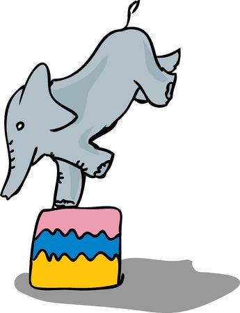 balancing: Elephant balancing on one leg in a circus