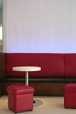 Modern trendy lounge waiting area cafe red and white theme