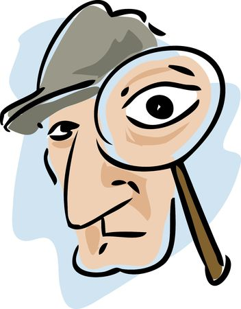 examining: Cartoon illustration of a detective examining with a magnifying glass