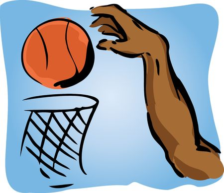dunking: Illustration of an arm dunking a basetball in a slamdunk