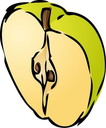 granny smith apple: Sliced half green apple isometric illustration golor gradient lineart hand-drawn sketch