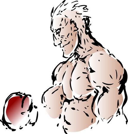 Sketch of a boxer in profile retro illustration Vector
