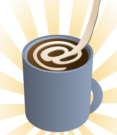 poured: Morning cup of internet: Illustration of a cup of coffee with the at symbol in poured cream. Illustration