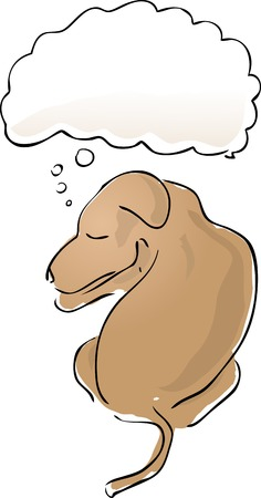 Illustration of a sleeping dog with a thought balloon over his head Stock Vector - 2529409