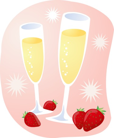 celebration with champagne and strawberries Stock Vector - 2529410