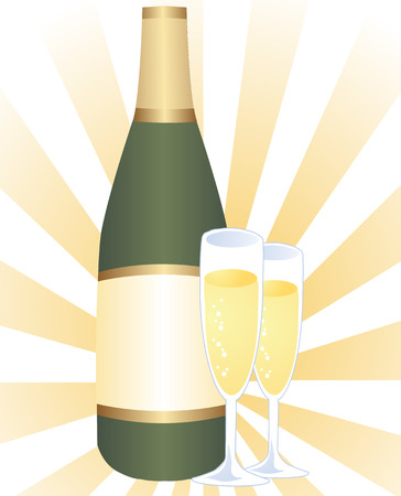Serving of champagne: bottle and two glasses of bubbly champagne Stock Vector - 2529406