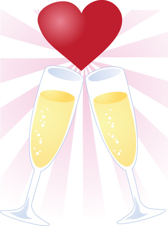 A toast of love, two champagne glasses touching with a heart Ilustração