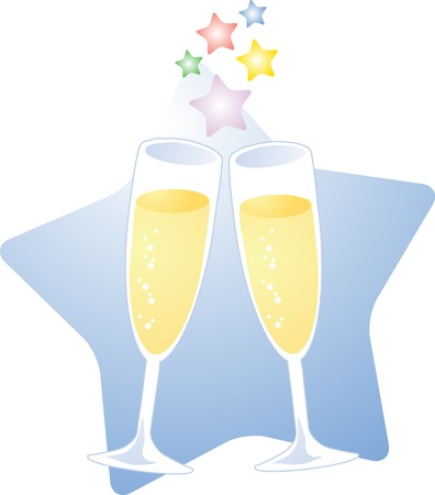 A starry toast with champagne; two glasses of champagne toasting to celebrate a special occasion Stock Vector - 2529408
