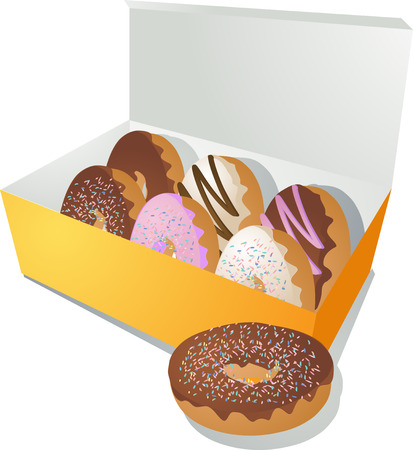 doughnut: A variety of donuts in a box Illustration