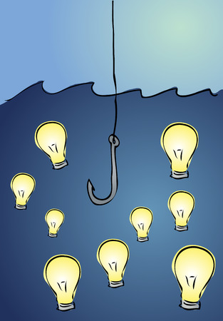 Fishing for ideas: illustration of a fishing hook looking for ideas (light bulbs) Stock Vector - 2537476