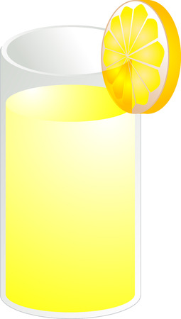 Illustration of lemonade in a glass, isometric color Vector