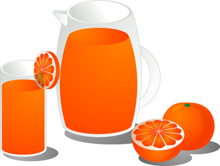 Orange juice illustration, showing juce in a glass and pitcher as well as a cut and whole orange Vector