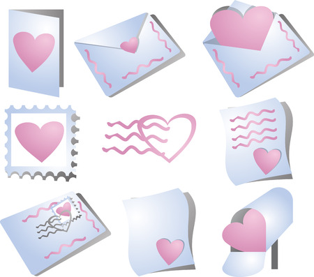 levelezés: Romance correspondence icons, feature hearts and the mail. Perfect for valentines and communicating love