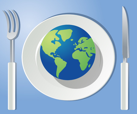 plate of food: The world on your plate. Place setting with the globe on a plate; Globe is at Americas, Africa and Europe