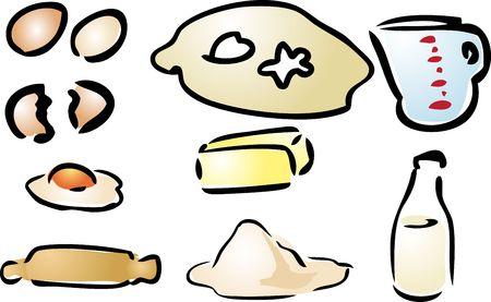 Baking ingredients various cooking preparation illustration hand-drawn look illustration