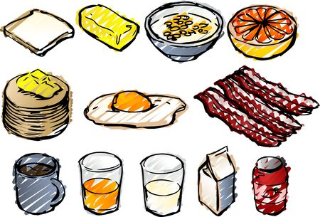 Breaksfast clipart illustrations done in sketchy hand-drawn look illustration