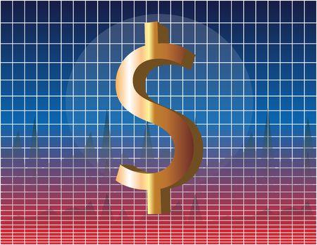 greenbacks: US Dollar symbol over financial chart diagram