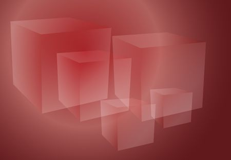 Abstract isometric geomtetric design of 3d translucent cubes red ruby color photo