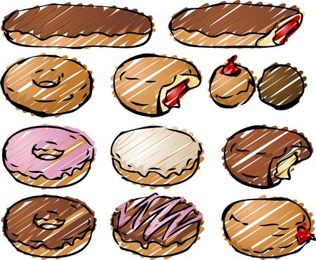 carb: Various donut pastries rough sketchy illustration