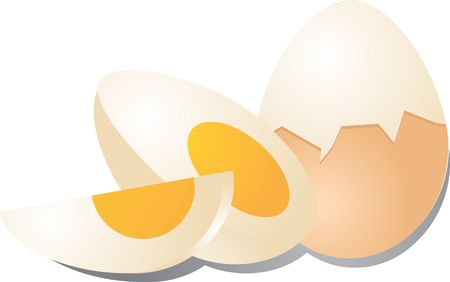 boiled eggs: Hard boiled eggs peeled and cut illustration Stock Photo