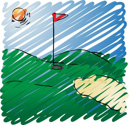 Sunny golf course rough sketchy illustration, hand-drawn look illustration