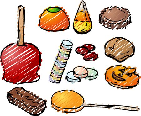 Halloween candy hand-drawn lineart look. Caramal apple, pumpkin jelly, candy corn, peanut butter cup, cinammon, caramel, cookies, chocolate bar, lollipop. Stock Photo - 3070912