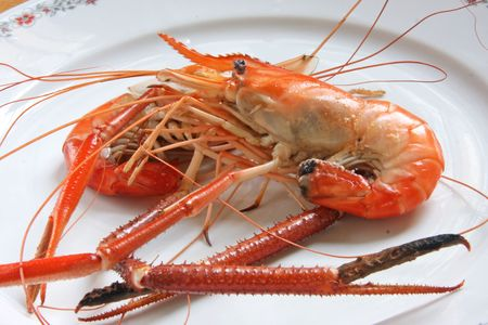 Whole cooked prawns in shell photo