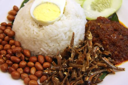 lemak: Nasi lemak traditional malaysian spicy rice dish Stock Photo