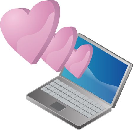 matchmaking: Cyber love online romance illustrated by notebook and hearts Stock Photo
