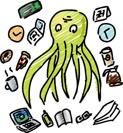 overworked: Comic illustration of an overworked octopus with too much going on at the same time Stock Photo