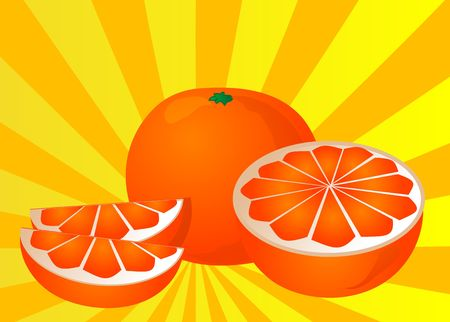 Cut orange illustration of orange cut into half and sections illustration