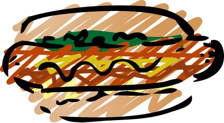 frank: Hot dog fast food, hand drawn inked look illustration