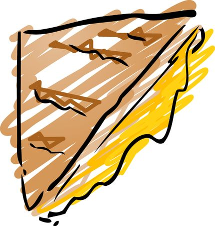 inked: Grilled cheese sandwich fast food, hand drawn inked look illustration