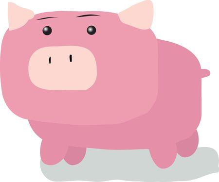 grosse tete: Le dessin carr� de porc avec de grandes t�tes ilutration