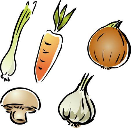 leek: Fresh garden vegetables illustration rough hand-drawn sketch look