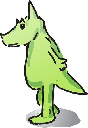 Cute cartoon dinosaur hand-drawn comic illustration Stock Illustration - 3114850