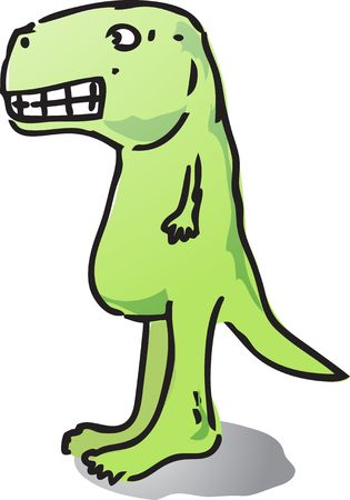 tyranosaurus: Cute cartoon dinosaur hand-drawn comic illustration