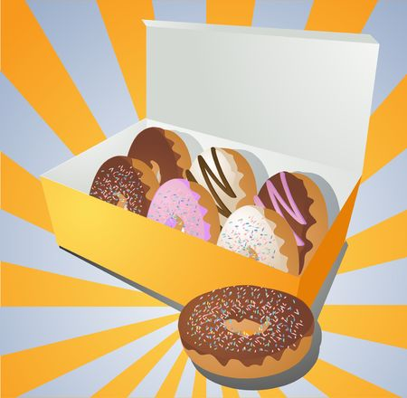 junky: A variety of donuts in a takeaway box