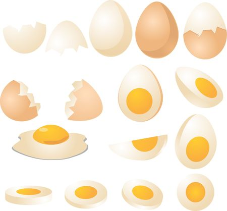 boiled eggs: Eggs in various forms and slices, isometric 3d vector illustration