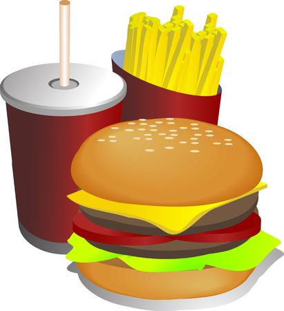 Fast food combo meal with hamburger fries and drink Stock Photo