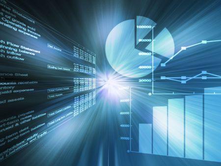 graficas de pastel: Datos de hojas de c�lculo y gr�ficos de negocios alambre azul brillante Foto de archivo