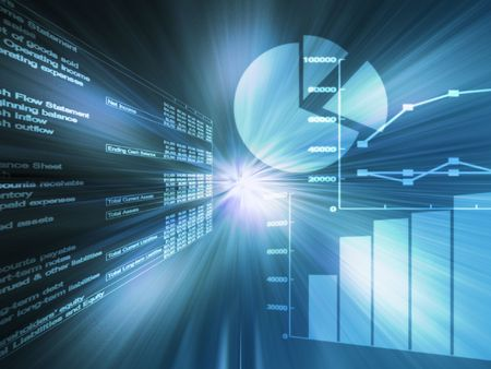 charts: Spreadsheet data and business charts  glowing wireframe blue Stock Photo