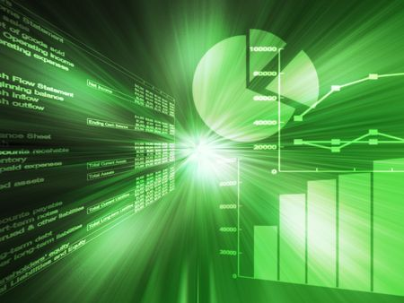 graphing: Spreadsheet data and business charts  glowing wireframe green Stock Photo