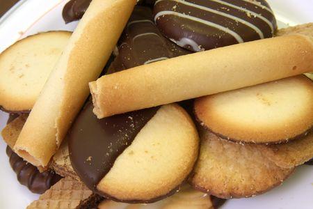 Variedad de galletas decoradas y galletas de barquillo cubierto de chocolate Foto de archivo - 3115187