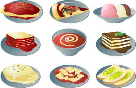 Italian cuisine: spaghetti, pizza, lasagna, soup, fettuccine, ravioli, garlic bread, tiramisu, ice cream Stock Photo