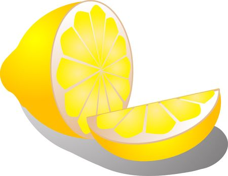 halved: Illustration of a half lemon and lemon slice, isometric color gradient illustration