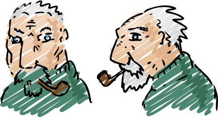 Cartoon illustration of an elderly grey-haired man Stock Illustration - 3115417