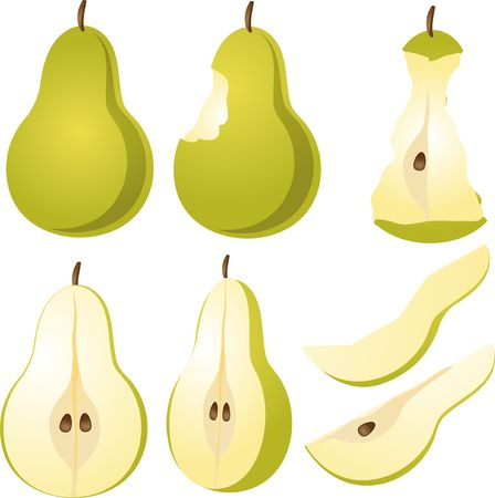 halved: Isometric 3d illustrtion of pears, bitten, core, halved, and quartered