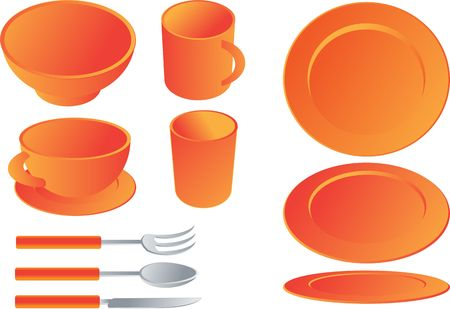 Dining set,  illustration isometric style orange color: plates, mug, cup, glass, bowl, fork, spoon, knife illustration