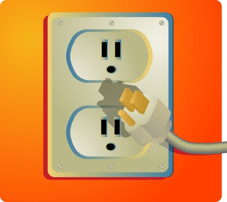 receptacle:  Illustration of a power outlet and plug; US-style outlet Stock Photo